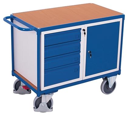 Werkstattwagen mit Flügeltür und vier Schubladen